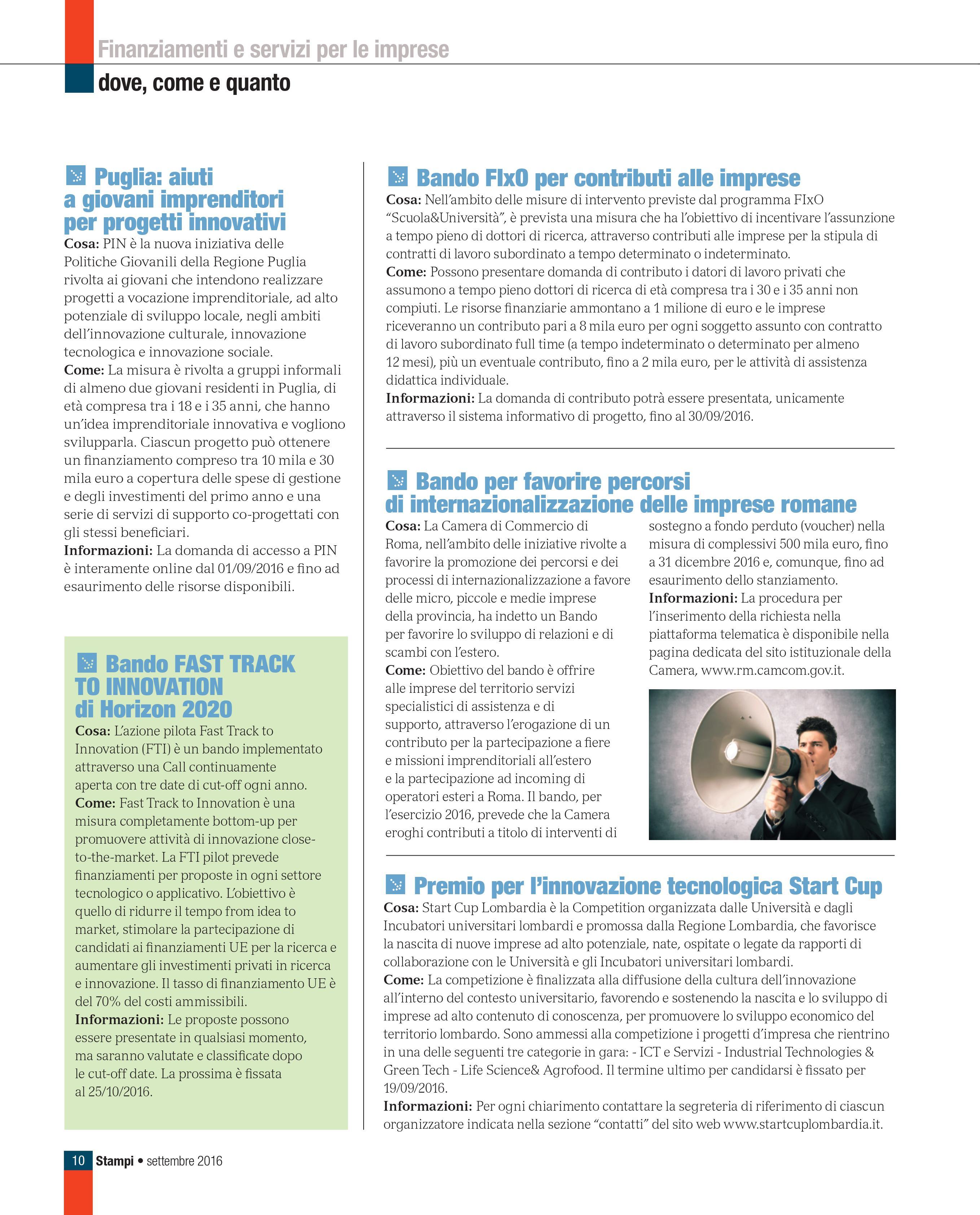 Rubrica internazionalizzazione e finanziamenti alle imprese Stampi